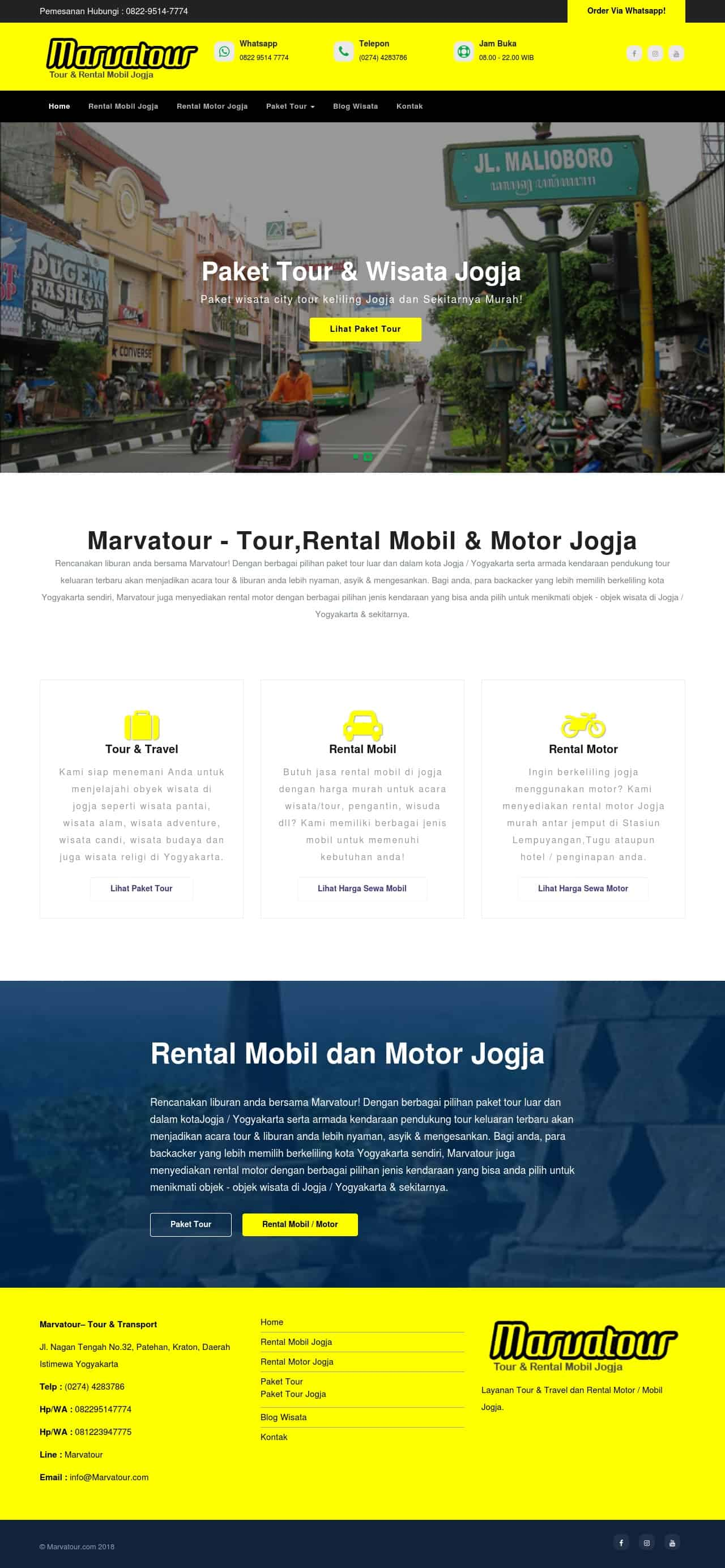 tampilan website marvatour