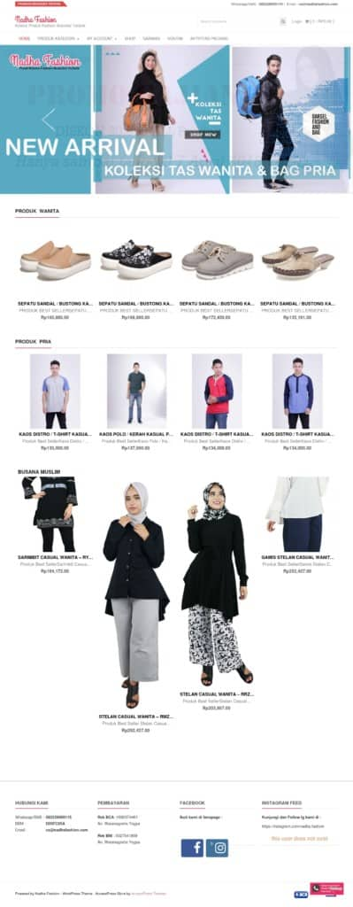 tampilan website nadhafashion